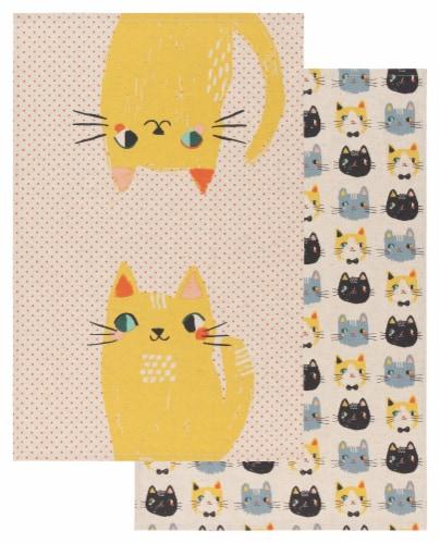 Danica Studio Coordinated Prints Meow Meow Cotton Linen Dish Towels Perspective: front