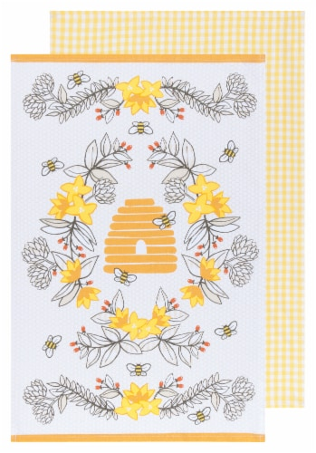 Now Designs 100% Cotton Woven Bee Print Kitchen Dish Towels Perspective: front