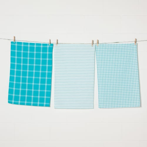 Now Designs Tic Tac Toe 100% Cotton Kitchen Dish Towels Bali Blue Set of 3 Perspective: front