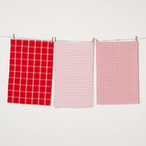 Now Designs Tic Tac Toe 100% Cotton Kitchen Dish Towels Red Set of 3 Perspective: front