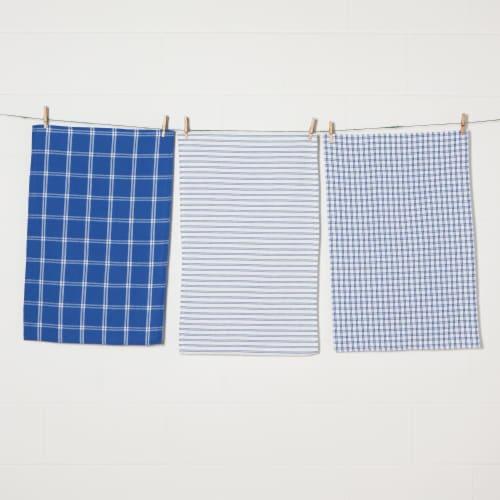 Now Designs Tic Tac Toe 100% Cotton Royal Blue Kitchen Dish Towels Perspective: front