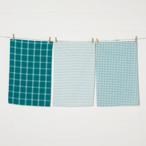 Now Designs Tic Tac Toe 100% Cotton Kitchen Dish Towels Peacock Green Set of 3 Perspective: front