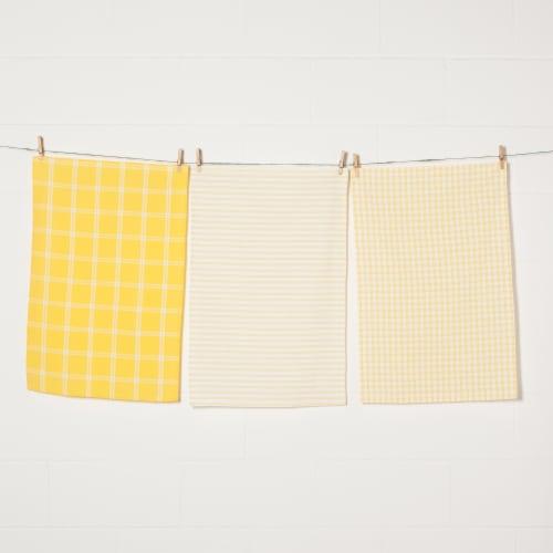 Now Designs Tic Tac Toe Lemon Yellow 100% Cotton Kitchen Dish Towels Perspective: front