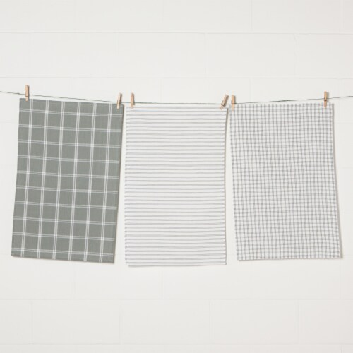 Now Designs Tic Tac Toe 100% Cotton Kitchen Dish Towels London Gray Set of 3 Perspective: front