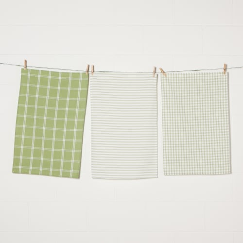 Now Designs Tic Tac Toe 100% Cotton Sage Green Kitchen Dish Towels Perspective: front