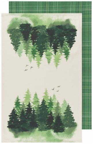 Now Designs 100% Cotton Woven Printed Kitchen Dish Towels Woods Set of 2 Perspective: front