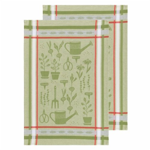 Now Designs Jacquard 100% Woven Cotton Kitchen Dish Towels Garden Set of 2 Perspective: front