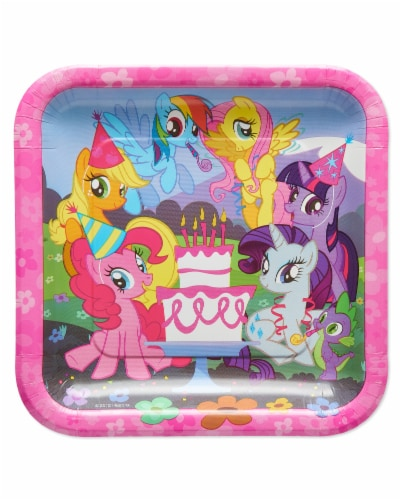 American Greetings My Little Pony Square Disposable Paper Dessert Plates Perspective: front