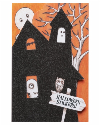 American Greetings Halloween Card with Stickers (Haunted House) Perspective: front