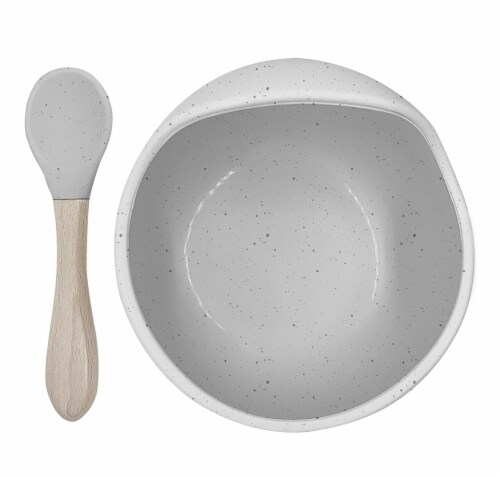 Siliscoop Bowl & Spoon Day Dream Grey Perspective: front