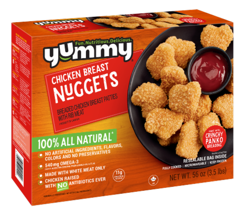 Yummy All Natural Chicken Breast Nuggets Perspective: front