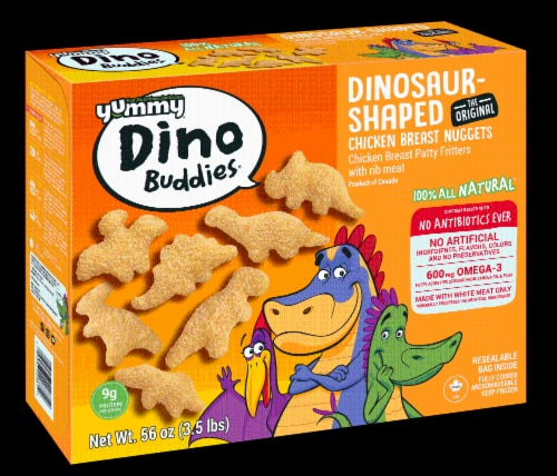 Yummy Dino Buddies Dinosaur Shaped Chicken Breast Nuggets Perspective: front
