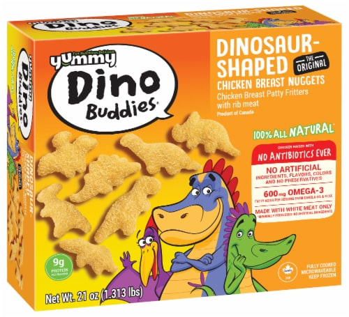 Yummy Dino Buddies Dinosaur-Shaped Chicken Breast Nuggets Perspective: front