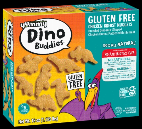 Yummy Gluten Free Dinosaur Nuggets Perspective: front