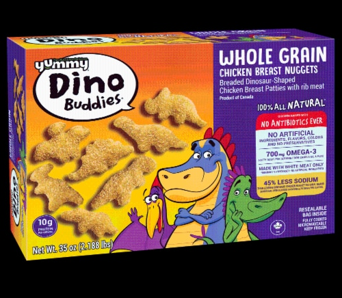 Yummy Whole Grain  Chicken Breast Dinosaur-Shaped Perspective: front