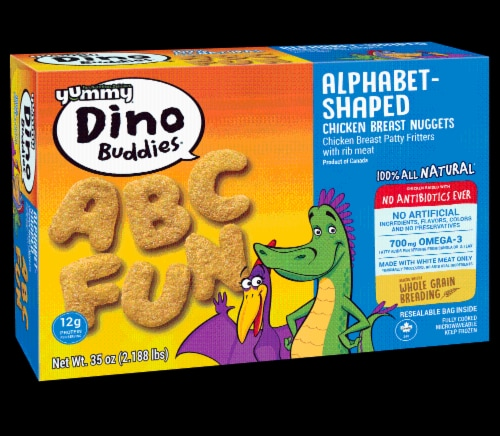 Yummy Dino Buddies Alphabet-Shaped Chicken Breast Nuggets Perspective: front