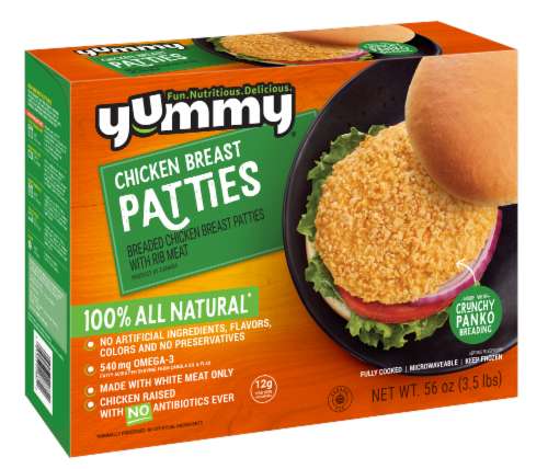 Yummy All Natural Chicken Breast Patties Perspective: front