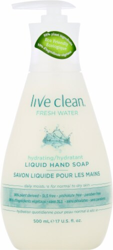 Live Clean Fresh Water Liquid Hand Soap Perspective: front