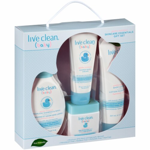 Live Clean Baby Gentle Moisture Skincare Essentials Gift Set Perspective: front