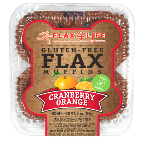 Flax 4 Life Cranberry & Orange Gluten-Free Flax Muffins Perspective: front