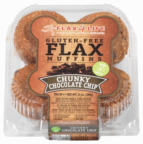 Flax 4 Life Gluten Free Chunky Chocolate Chip Muffins Perspective: front