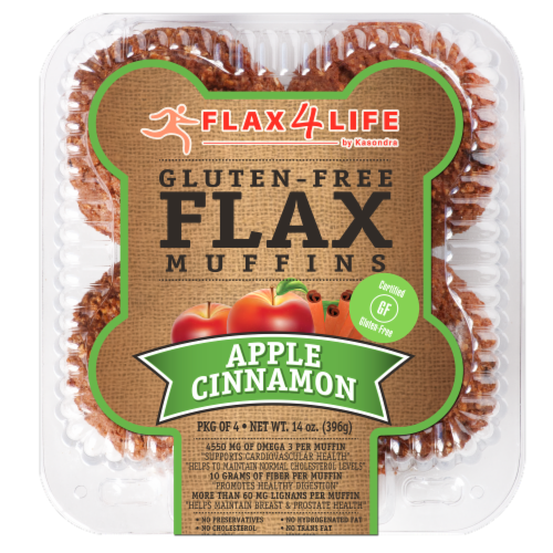 Flax 4 Life Apple Cinnamon Gluten-Free Flax Muffins Perspective: front