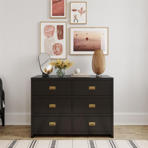 Baby Relax Miles 6-Drawer Dresser, Black Wood Perspective: front