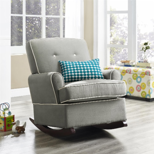 Baby Relax Tinsley Contemporary Upholstered Rocker in Gray Perspective: front