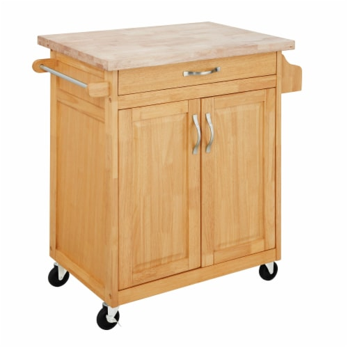 Dorel Living Wood Top Kitchen Cart in Natural Perspective: front