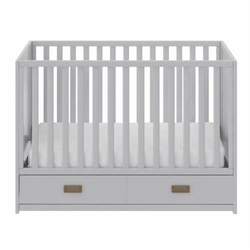 Little Seeds Haven 3-in-1 Convertible Storage Crib, Dove Gray Perspective: front