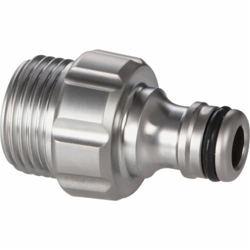 Gardena 39022-G 0.62 & 0.5 in. Premium Metal Garden Hose Male Adapter Perspective: front