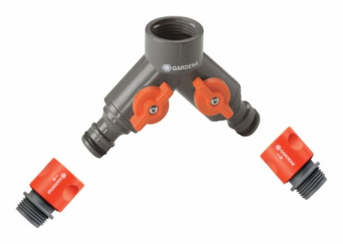 Gardena 36938-G 0.62 & 0.5 in. Twin Tap Connector  Nylon-ABS Perspective: front
