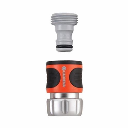 Gardena 39044 0.62 & 0.5 in. Premium Metal Garden Hose Connector Set  Nylon-ABS Perspective: front