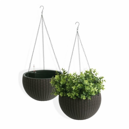 Algreen Products 14127 10 in. Self Watering Modena Wicker Hanging Basket, Mocha - Pack of 2 Perspective: front
