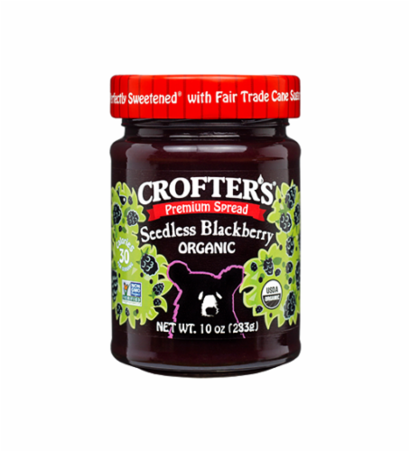 Crofter's Organic Seedless Blackberry Premium Fruit Spread Perspective: front