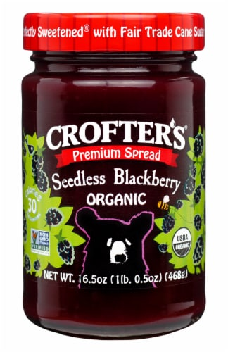 Crofter's Organic Premium Seedless Blackberry Spread Perspective: front