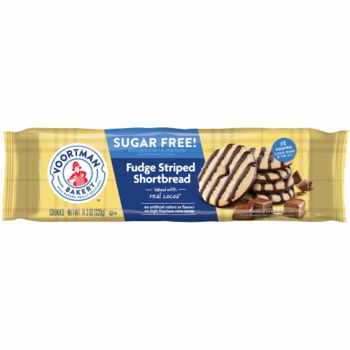 Voortman Bakery Sugar Free Fudge Striped Shortbread Cookies Perspective: front