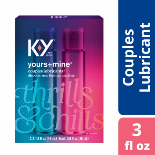 K-Y Yours + Mine Thrills & Chills Couples Lubricants Perspective: front