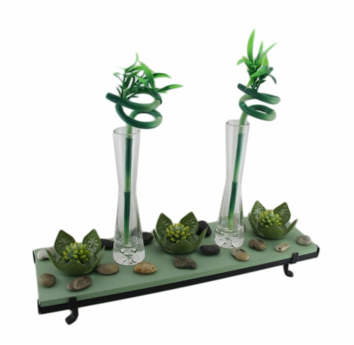3 Lotus Flower Tealight Holder 2 Lucky Bamboo Candle Garden Set Perspective: front