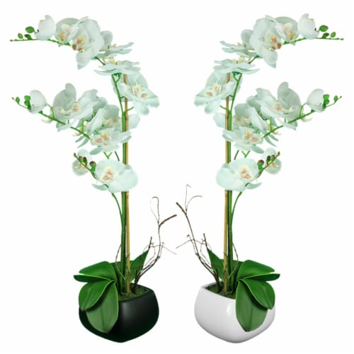 Saltoro Sherpi Square Ceramic Pot With Polyester Orchid Plant, Assortment Of Two, Multicolor Perspective: front