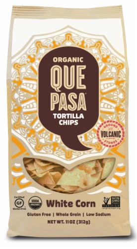 Que Pasa Organic White Corn Tortilla Chips Perspective: front