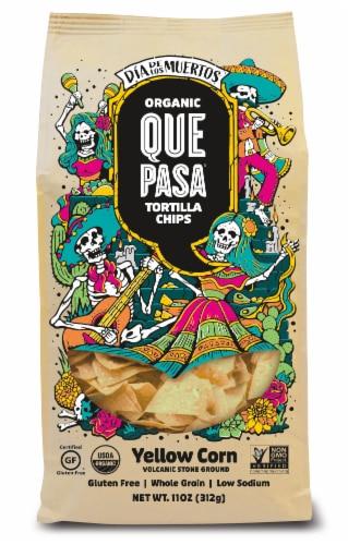 Que Pasa Organic Dia de los Muertos Yellow Corn Tortilla Chips Perspective: front