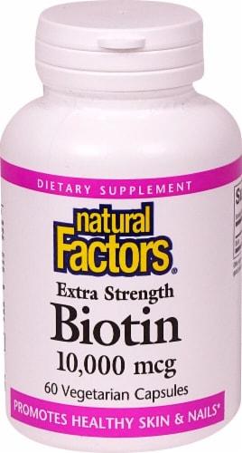 Natural Factors Extra Strength Biotin Vegetarian Capsules 10000 mcg Perspective: front