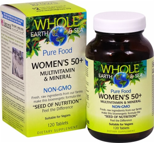 Natural Factors Whole Earth & Sea Women's 50+ Multivitamin & Mineral Tablets Perspective: front