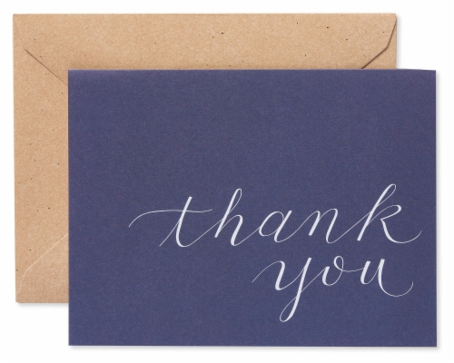 American Greetings Navy Blue Thank You Cards with Kraft-Style Envelopes Perspective: front