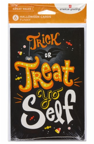 American Greetings Funny Halloween Greeting Cards, 6-Count (Treat Yo Self) Perspective: front