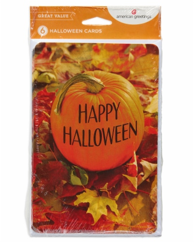 American Greetings Halloween Greeting Cards, 6-Count (Pumpkin) Perspective: front