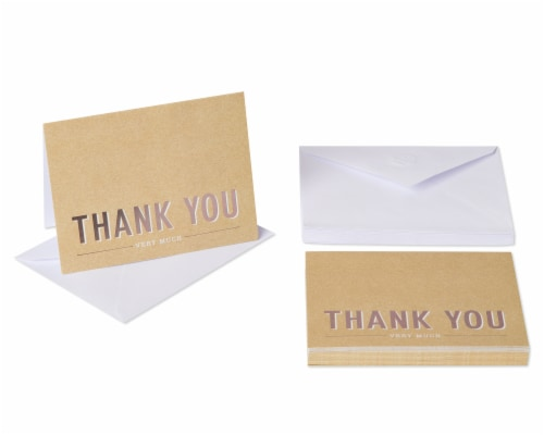 American Greetings #14 Thank You Kraft Stationery Perspective: front