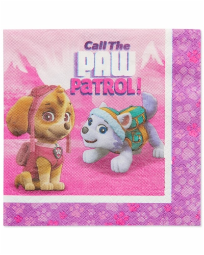 American Greetings Paw Patrol Pink Disposable Paper Lunch Napkins Perspective: front
