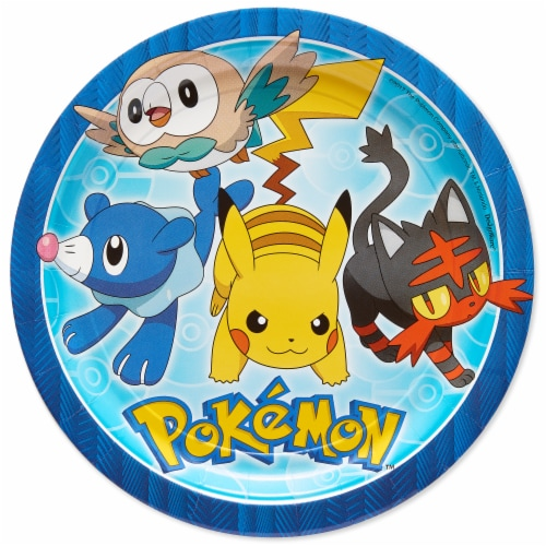 American Greetings Pokemon Disposable Paper Dinner Plates Perspective: front